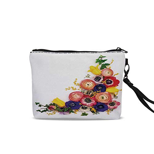 Anemone Flower Portable Art Storage Bag with Cosmetics,Festive Floral Composition with English Roses Fresh Buttercups and Herbs Decorative For Women Girl,9