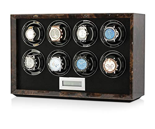 Watch Winder Station for Winding 8 Automatic Watches with LCD Touchscreen Display for All Watch Brands and All Watch Sizes (Dark Burl)