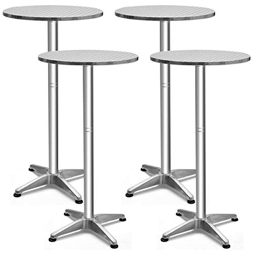 Giantex Bistro Bar Table Aluminium Round Folding Table W/Two Height Adjust Table (4) ()