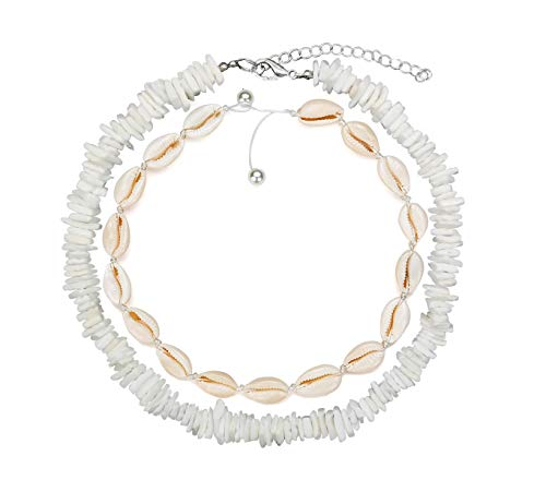 ZYIJUNY Women White Conch Clam Chips puka Shell Necklace Collar Choker with Extended Chain for Girls Men's Women Boys Native Rose Hawaiian Beach Ajustable Necklace (White Set)