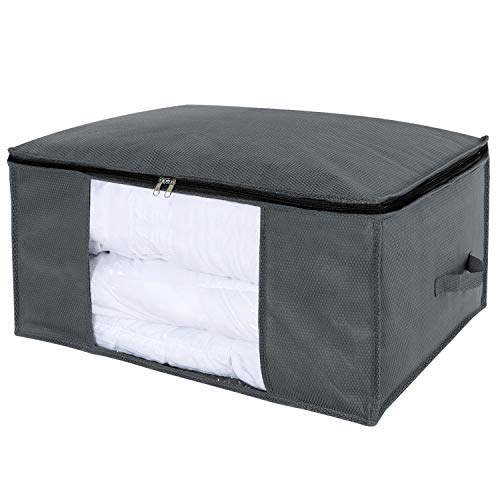 Lifewit Large Clothes Storage Bag for Comforters, Blankets, Bedding, Pillow, Breathable Foldable Closet Organizer with Clear Window