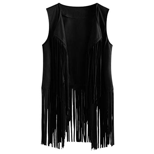 Toimothcn Women Fringe Vest Faux Suede Tassels Hippie Clothes Open-Front Sleeveless Vest Cardigan (Green,L) (Names Polyester Other For)