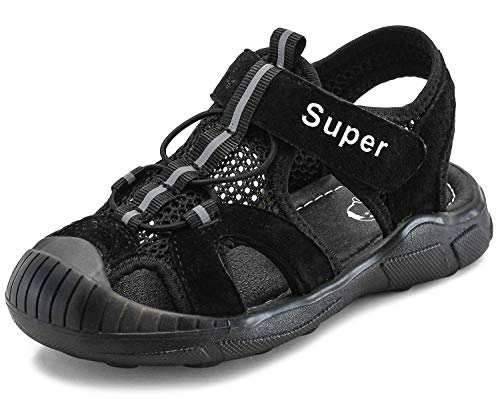SKOEX Boys Closed-Toe Mesh Outdoor Sports Sandals(Toddler/Little Kid) US Size 7 Black