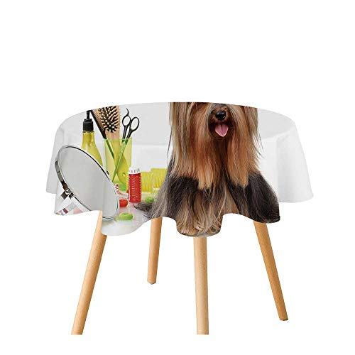 Yorkie Polyester Round Tablecloth,Yorkshire Terrier with Stylish Hairdressing Equipment Mirror Scissors Decorative for Home Restaurant,31.4