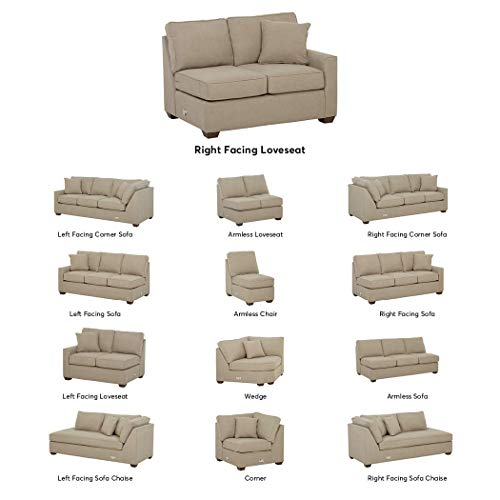 Stone & Beam Bagley Sectional Component, Right-Facing Loveseat, Fabric, 52