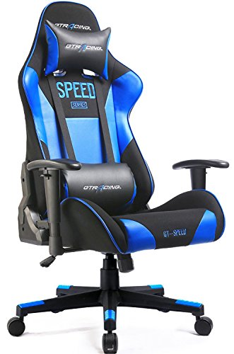 GTracing Gaming Chair Racing Chair Backrest And Height Adjustable E-sports Chair Ergonomic Computer Office Chair Furniture With Pillows (Blue)