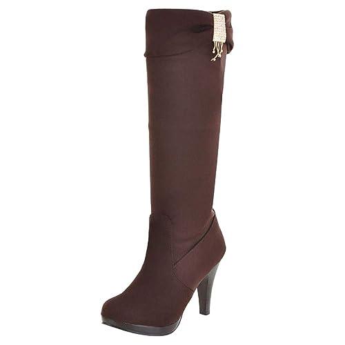 271113e0de265 RAZAMAZA Mujer Moda Tacón Alto Botas sin Cordones  Amazon.es  Zapatos y  complementos