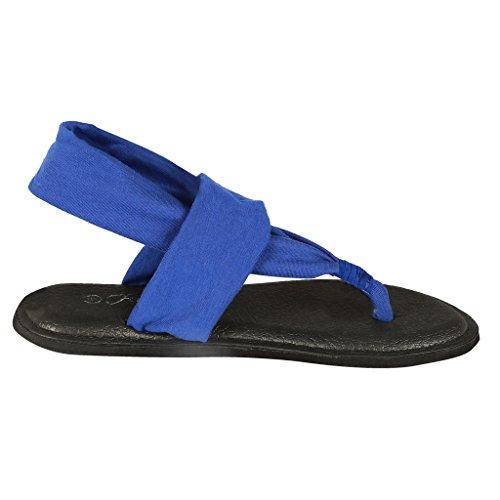 Coshare Damesmode Assortiment Yoga Sling Flip Flop Platte Sandalen Blauw - Stof Pu Plat
