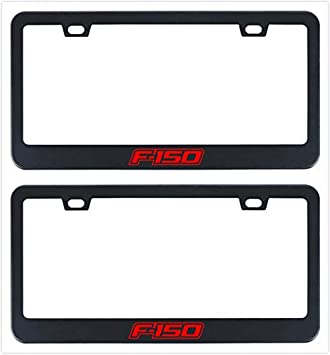 Ford Logo LASER Style Black Stainless Steel License Plate Frame W// Bolt Caps