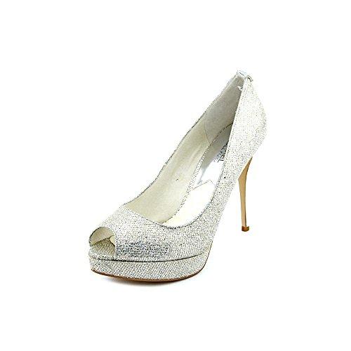 MICHAEL MICHAEL KORS Women's York Platform Pump (Silver Glitter 7.0 M)