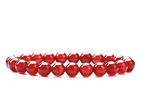 (Natural Gemstone Semi Precious Round Beads Bracelet 8mm Handmade Stretch Bracelet Unisex Jewelry (AAA Red Agate))