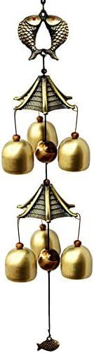アンティーク 調 ドアベル レトロなドアのベルメタルドアベルの装飾品は、ペンダント鋳物アイアンアンティークベルを歓迎します エントリードアベル (色 : Brass, Size : One size)