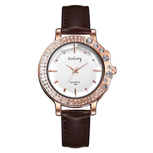 XBKPLO GoGoey Watches for Women Luxury Pave Diamond Bezel Business Ladies Fine Road Small Dial Analog Wrist Quartz Watch PU Leather Strap Bracelet Jewelry Gift