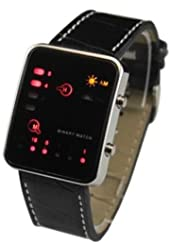 Practical Deluxe LED Digital Wrist Sport Watch Binary Wristwatch Pu Leather Dr