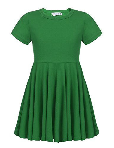 Arshiner Little Girls Short Sleeve A Line Casual Skater Dress, Green, 110(Age for 4-5Y)