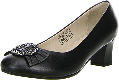 Bergheimer Damen Trachtenschuhe Pumps schwarz, Größe:39;Farbe:Schwarz