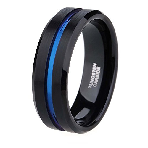 Free Engraving Black Mens Tungsten Carbide Ring with Centre Thin Blue Line Comfort Fit Size 6