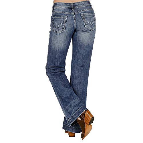 (Stetson Apparel Womens 214 Trouser Fit Flare Jeans 12 L Denim)