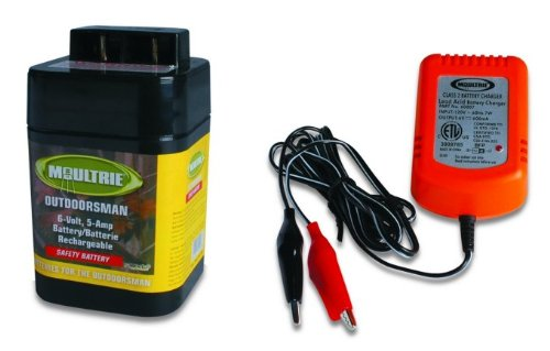 NEW MOULTRIE 6 Volt Rechargeable Safety Feeder Battery + 6 Volt Battery Charger