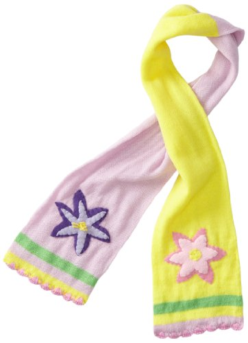 Kidorable Lotus Flower Pink and Yellow Knit Scarf for Girls With Fun Scalloped Ends, 43x5.5 Inches (Flowers And What They Represent)