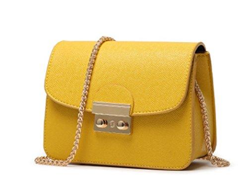 Mini Shoulder Bag Women Leather Handbags Pu Message With Chain Strap Shoulder Bag Strap Bag Shoulder Strap (8 Colors) Yellow