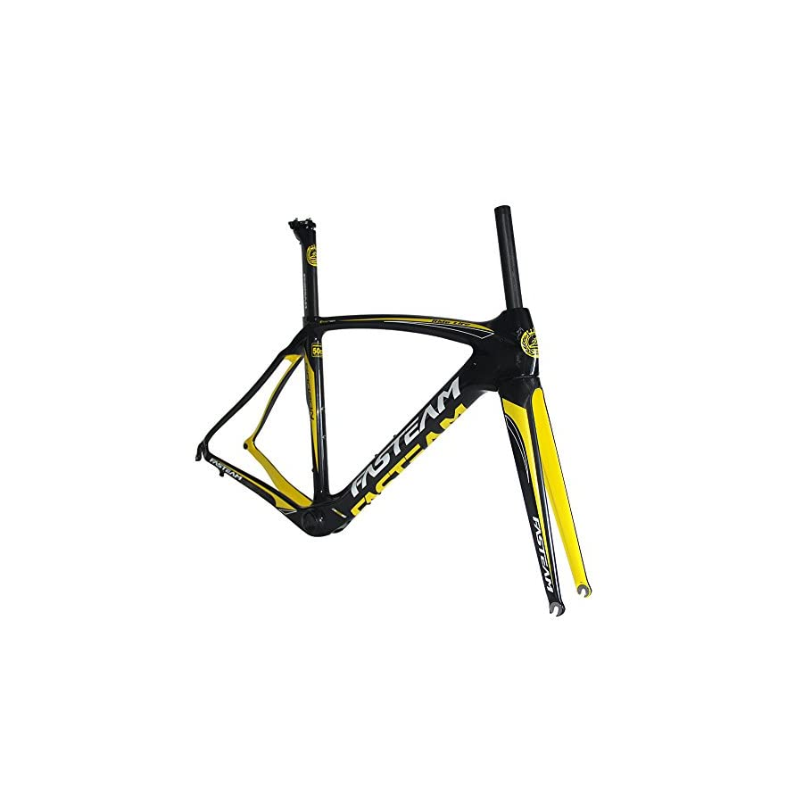 Fasteam UD Clear Coating Yellow Carbon Bike Frame for Road Bike with a Full Carbon Fork