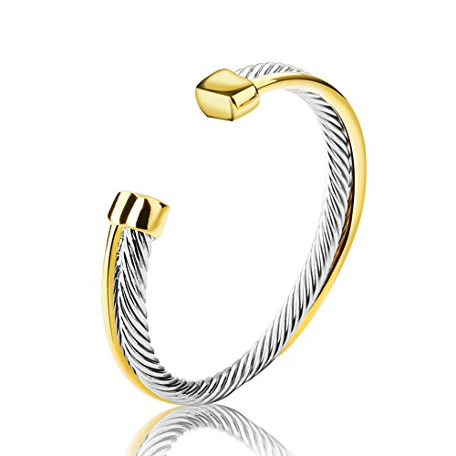 Bracelet Yurman Cuff David (UNY stainless steel cable wire bangles Crystal mosaic bracelet Bangle for women fashion jewelry)