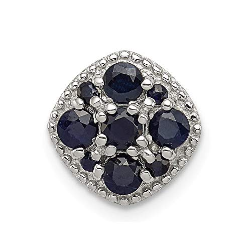 Roy Rose Jewelry Sterling Silver Sapphire Square Pendant Slide