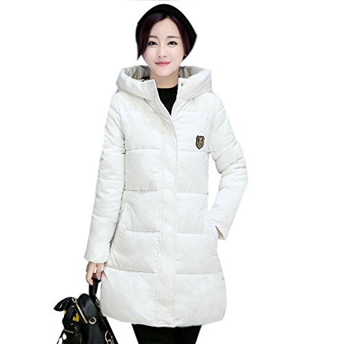 Babyney Cotton Coat Donna Down Bianco Capispalla Con Women Fashion Cappuccio Slim Winter pqwrp