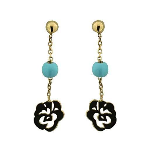 18K Yellow Gold 4 mm Turquoise paste Bead and Rose Flower Dangle Post Earrings L 1.0 inch by Amalia
