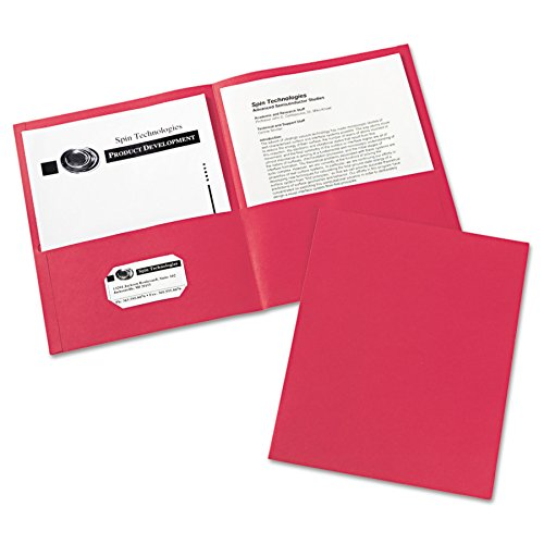 40 Folders - Avery 47989 Two-Pocket Folder, 40-Sheet Capacity, Red (Box of 25)