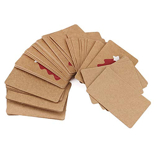 Kiar Brown 50pcs Christmas Kraft Gift Paper Label Price Hang Tags Cards Wedding Hot for Bedroom Outdoor Indoor Operated Colored Decorations Under Ornaments Sale