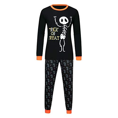 Halloween Matching Pajamas Outfits, Jessie storee Family Set Pumpkin Sleepwear Homewear Nightwear for Dad Mom Kid Unisex Boys Girls Pajama Skeleton Costume Outfit Pants T-Shirt Nightwear, Men, ()
