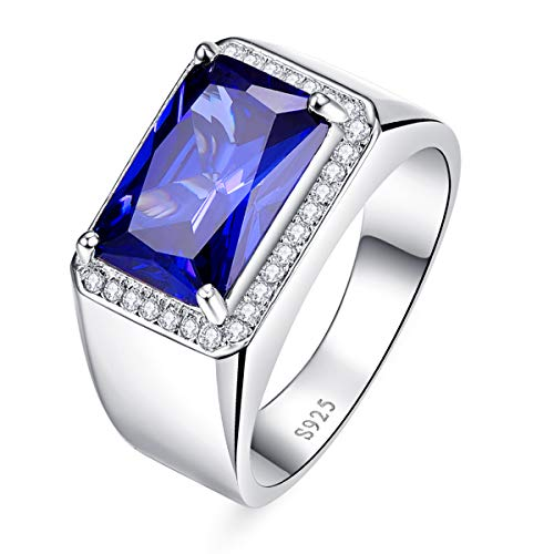 BONLAVIE Engagement Rings for Men Radiant Cut Created Blue Sapphire and Round Cut White Cubic Zirconia 925 Sterling Silver Size 13