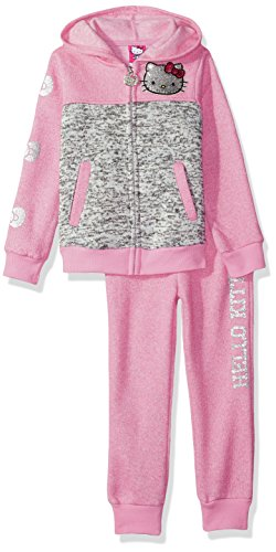 Hello Kitty Girls' 2 Piece Hooded Fleece Active Set, Pink/Gray, 24M