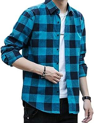 UNINUKOO Unko Mens Casual Plaid Button Down Long Sleeve T-Shirts