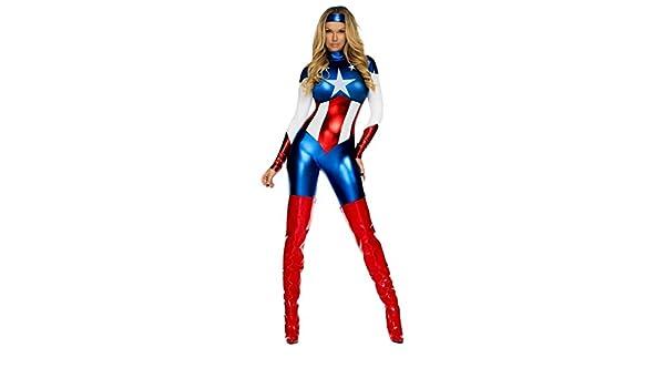 Disfraz de Capitán América para mujer, disfraz de Hero Super Hero ...