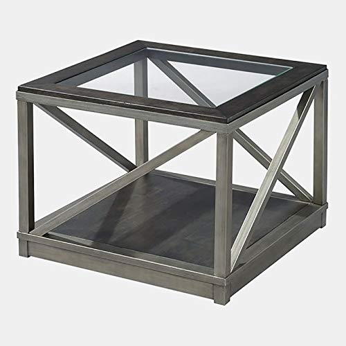 Metal Base Coffee Table with Glass Top - Coffee Table with Hidden Wheels - Glazed Silver Metal