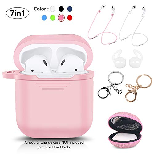 LKDEPO 7 in 1 Accessories Set [ Include Protective Silicone Case Cover/Ear Hook/Keychain/Strap/Travel Coin Bag ] (Pink)