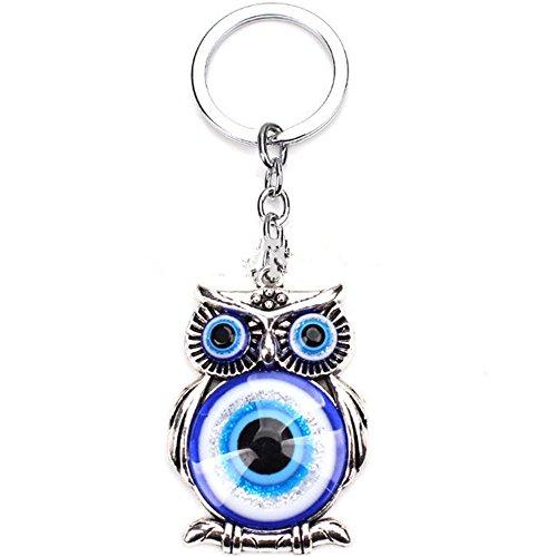 Blue Evil Eye (Nazar) Owl Key Ring Blessing Protection Religious Charm Birthday Blessing Congratulatory ()