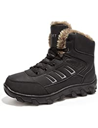 Winter Warm Snow Boots Men Shoes Fully Fur Lined Ankle Bootie Waterproof Outdoor Hiking Walking Casual Fashion Sneakers