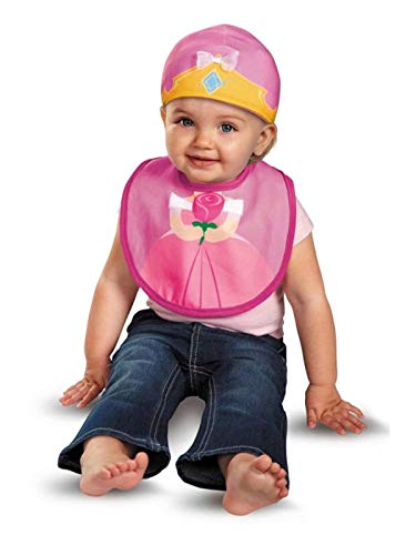Disguise Baby Girl's Disney Sleeping Beauty Aurora Infant Bib and Hat, Pink/Yellow, 0-6 Months