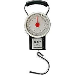 "Manual Luggage Scale w/Built-in Tape Measure Weighs Bags-To 75lbs.- Measures Bag Up To 39"" Black-One Size"