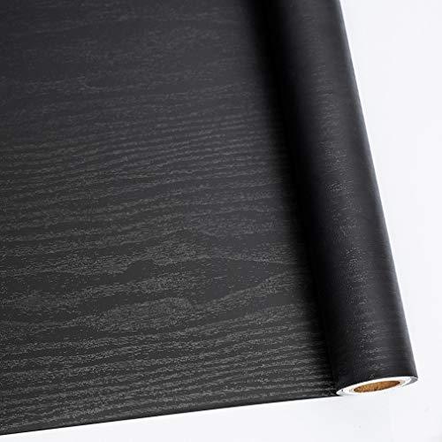 (Wood Contact Paper black decorative Self-Adhesive Waterproof Wallpaper Peel Stick Countertop Shelf Liner Removable Drawer Sticker Vinyl Film Backsplash 11.8