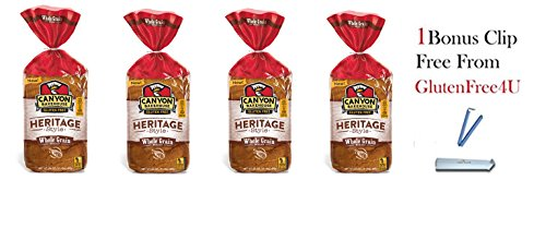 Canyon Bakehouse GlutenFree Heritage Style Whole Grain Bread 24oz(Pack of 4) + 1 Bonus Clip from Glutenfree4U (Free Whole Grain Gluten Bread)