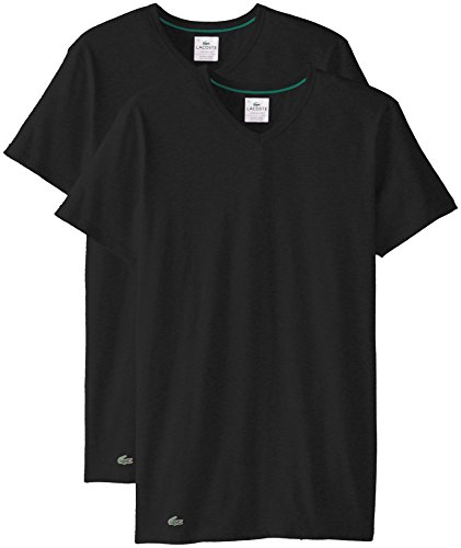 Lacoste+Men%27s+2-Pack+Colours+Cotton+Stretch+V-Neck+T-Shirt%2C+Black%2C+Medium