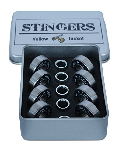 Yellow Jacket Premium Skateboard Bearings, Pro Longboard Bearings, 608, ABEC 11, Washers and Spacers, Black Mamba (Pack of ()
