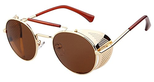 Flowertree STY056 Metal Frame Mesh Fold-in Side Shield Round 52mm Sunglasses (C2-gold+brown, ()