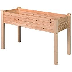 GOOD LIFE Outdoor Patio Wooden Raised Garden Bed Elevated Planter Flower Box Nature Color LNG379