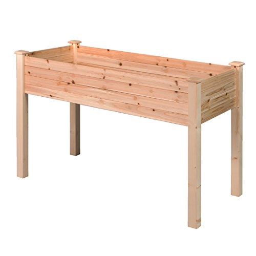 tio Wooden Raised Garden Bed Elevated Planter Flower Box Nature Color LNG379 ()